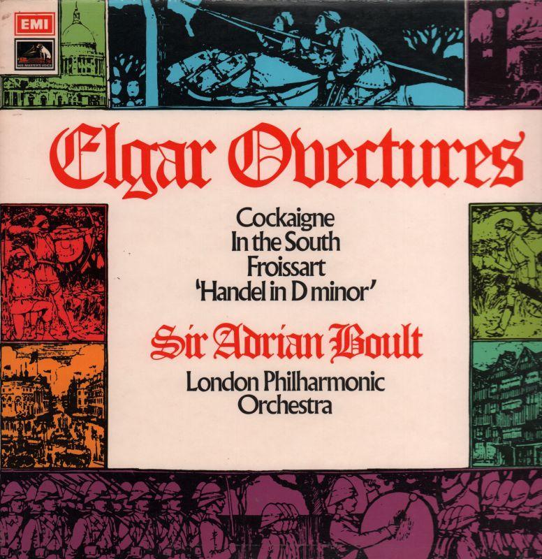 Elgar-Vinyl-LP-Overtures-Sir-Adrian-Boult-HMV-ASD-2822-UK-1972-VG-VG